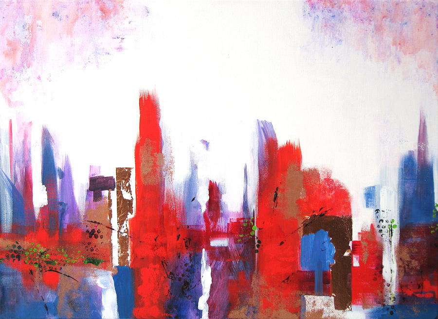 Abstract Cityscape Painting - Downtown by Vicki Brevell