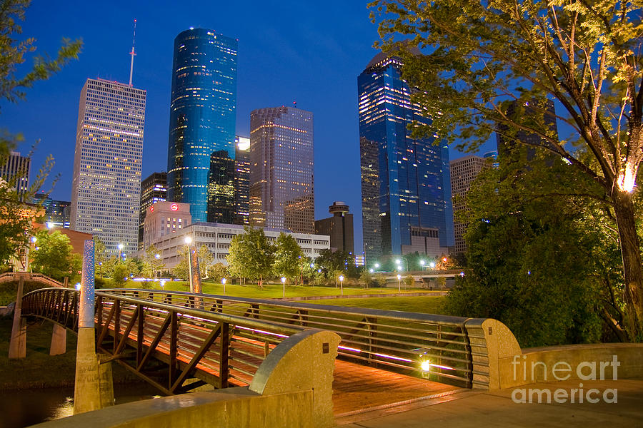 Downtown Photograph - Dowtown Houston By Night by Olivier Steiner