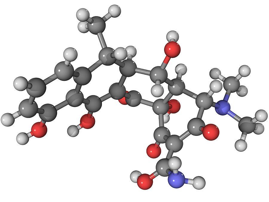 Molecular Photograph - Doxycycline Antibiotic Molecule by Laguna Design