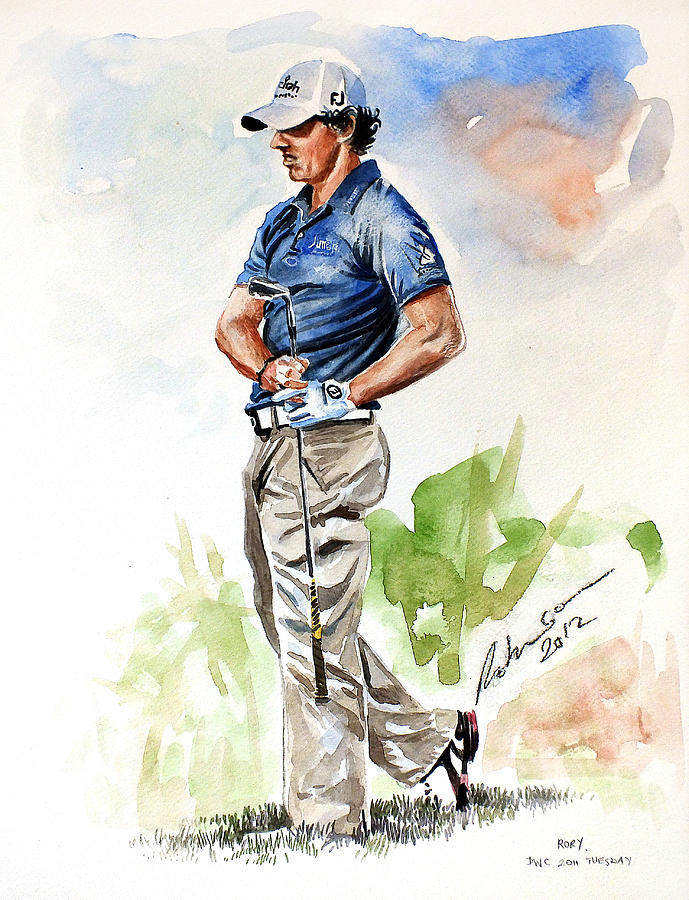 Rory Mcilroy Painting - @dpwtc Rory Mcilroy 2012 Watercolor by Mark Robinson