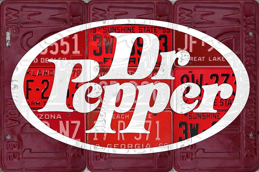 Dr Pepper Mixed Media - Dr Pepper Soda Pop Beverage Vintage Retro Logo Recycled License Plate Art by Design Turnpike