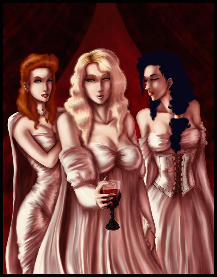 Vampire Digital Art - Draculas Brides by Jessica Gaude