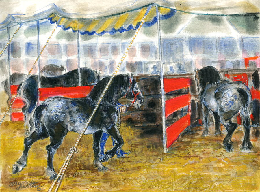 Horses Painting - Drafts At The Fair by Mary Armstrong