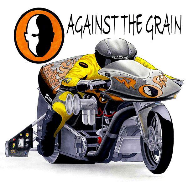 Motorcycle Drawing - Drag Bike Cartoon by Lyle Brown
