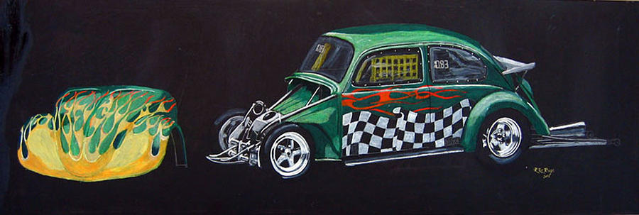 Vw Painting - Drag Racing Vw by Richard Le Page