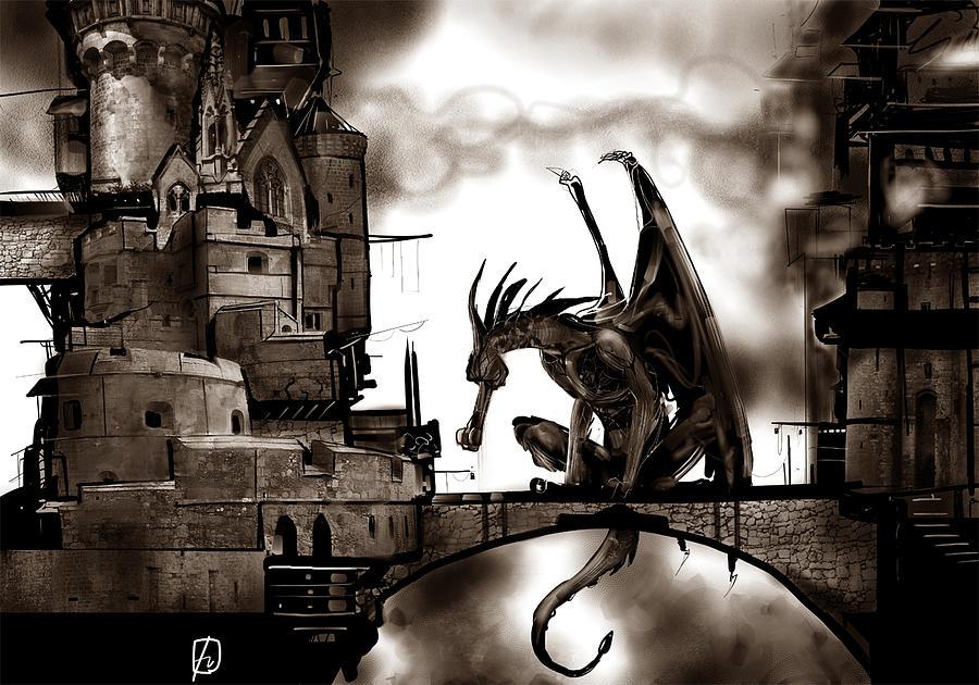 Dragon And Castle Digital Art by Fabrizio Uffreduzzi