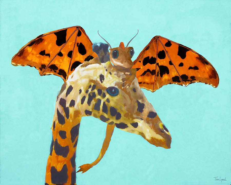 Dragon Painting - Dragon And Giraffe by Tina Lynch