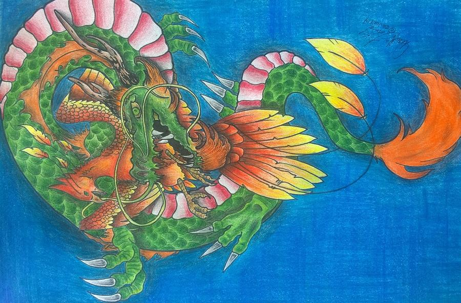 Asian Drawing - Dragon And Phoenix by Darrell Lormand