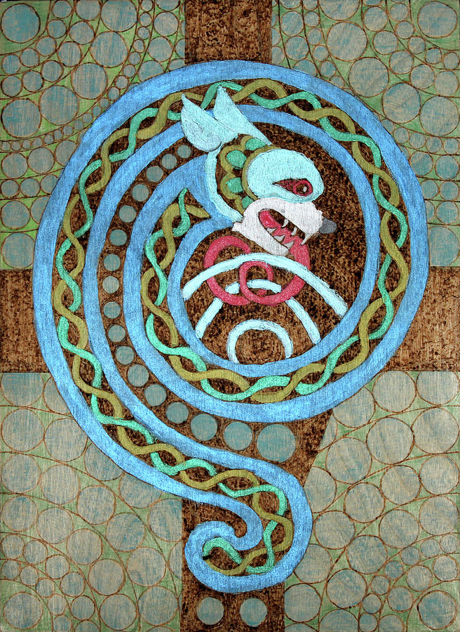 Dragon And The Circles Pyrography by David Yocum
