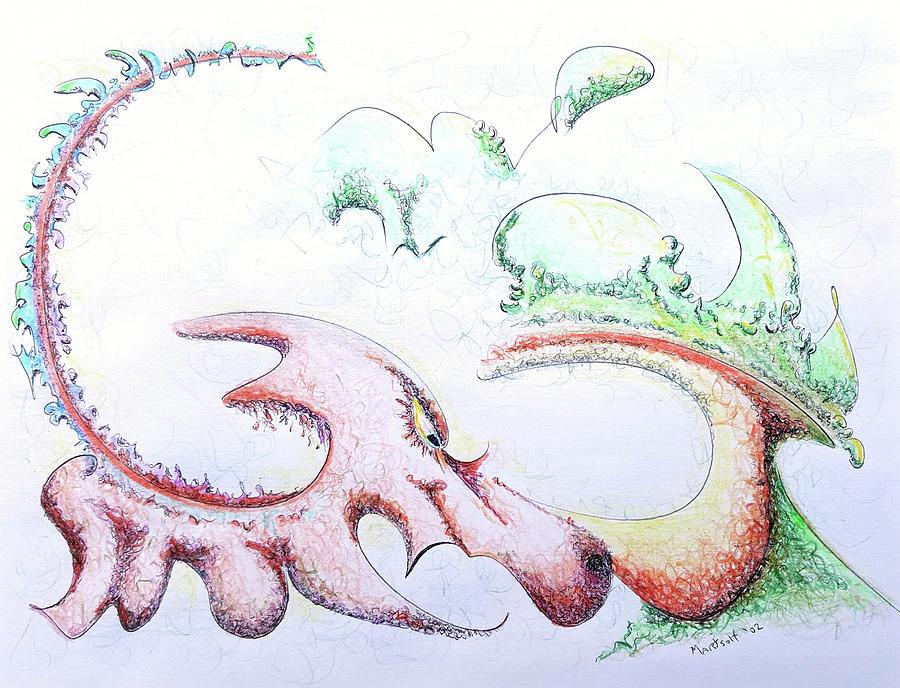 Dragon Drawing - Dragon by Dave Martsolf