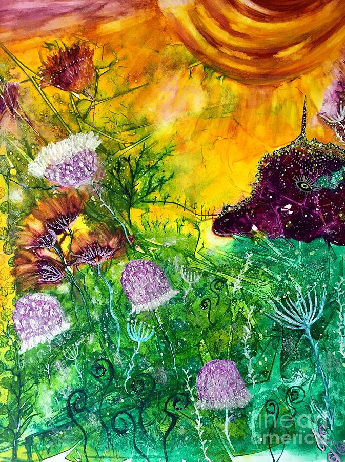 Dragon Painting - Dragon Daze by Julie Engelhardt