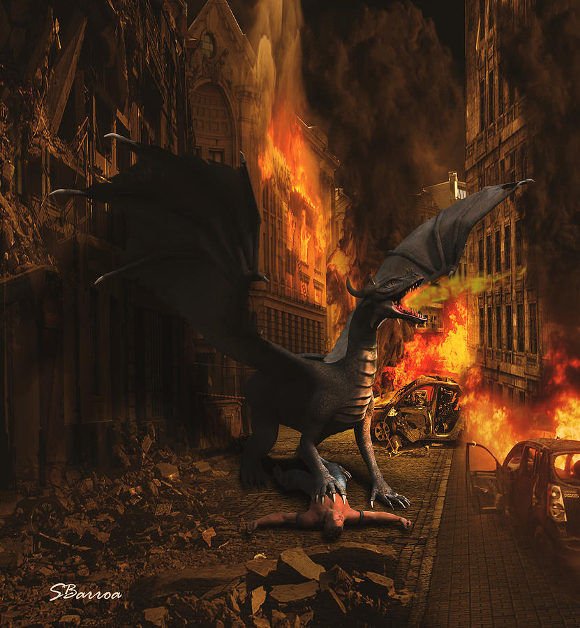 Dragon Flame Mixed Media - Dragon Flame by Solomon Barroa