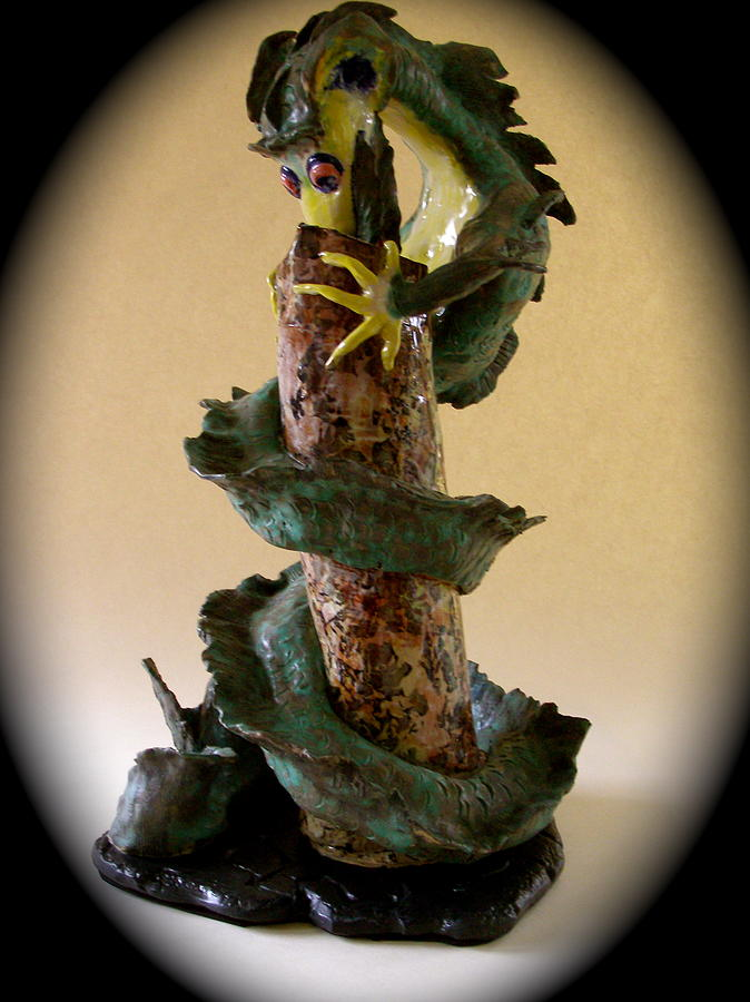 Dragon Ceramic Art - Dragon Hunting by Viva Jones