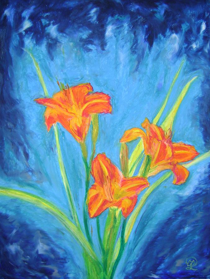 Dragon Lillies Pastel by Therese Legere