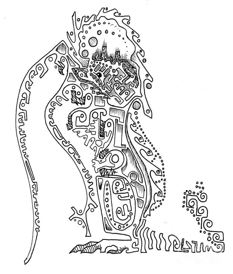 Dragon Drawing - Dragon Line Drawing by Ashley Staley