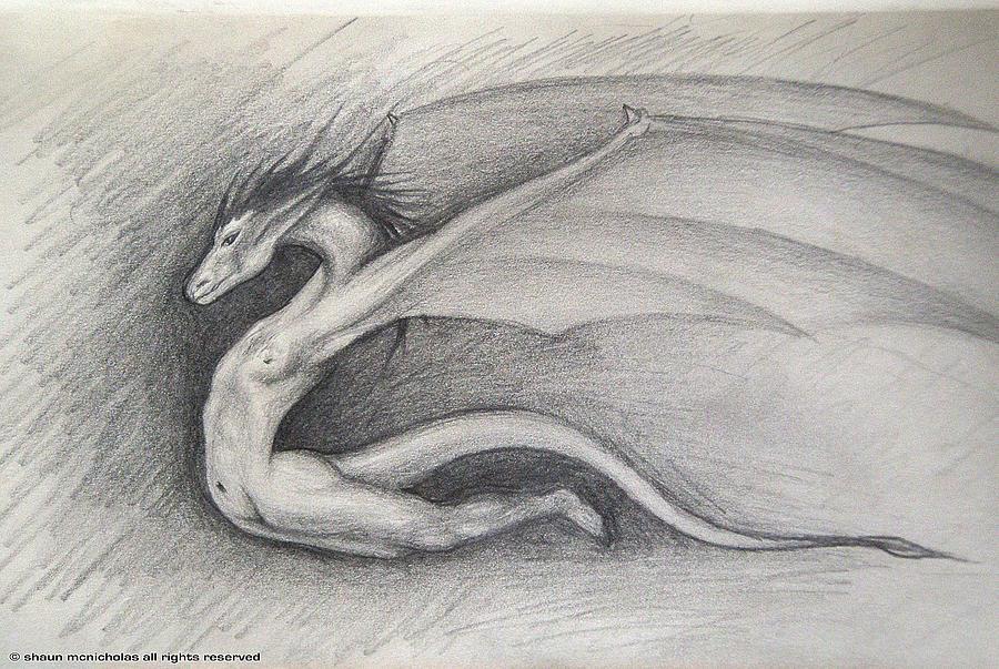 Dragon Drawing - Dragon Man by Shaun McNicholas
