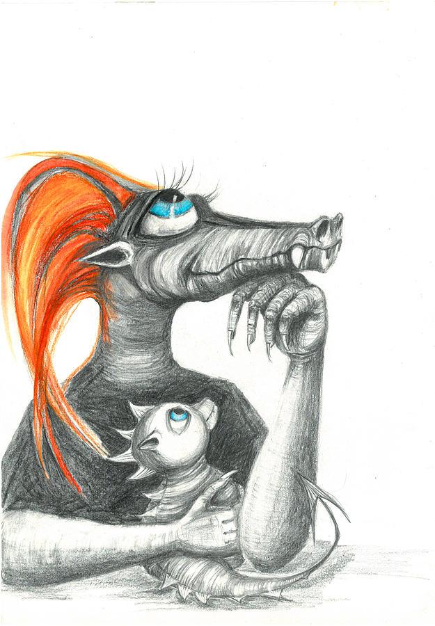 Dragon Drawing - Dragon Mom by Adriana Laube