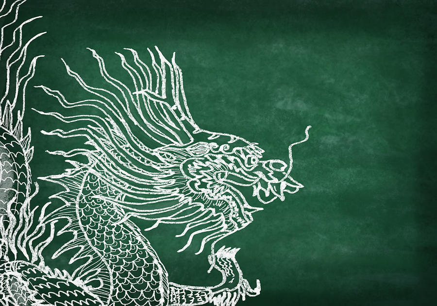2012 Photograph - Dragon On Chalkboard by Setsiri Silapasuwanchai