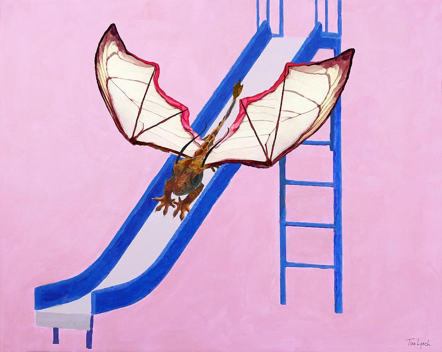 Dragon Painting - Dragon On Slide by Tina Lynch