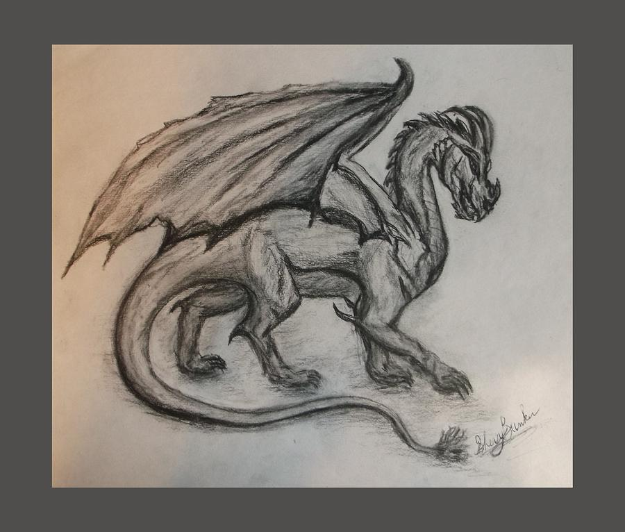 Dragon Drawing - Dragon On The Move by Sherry Bunker