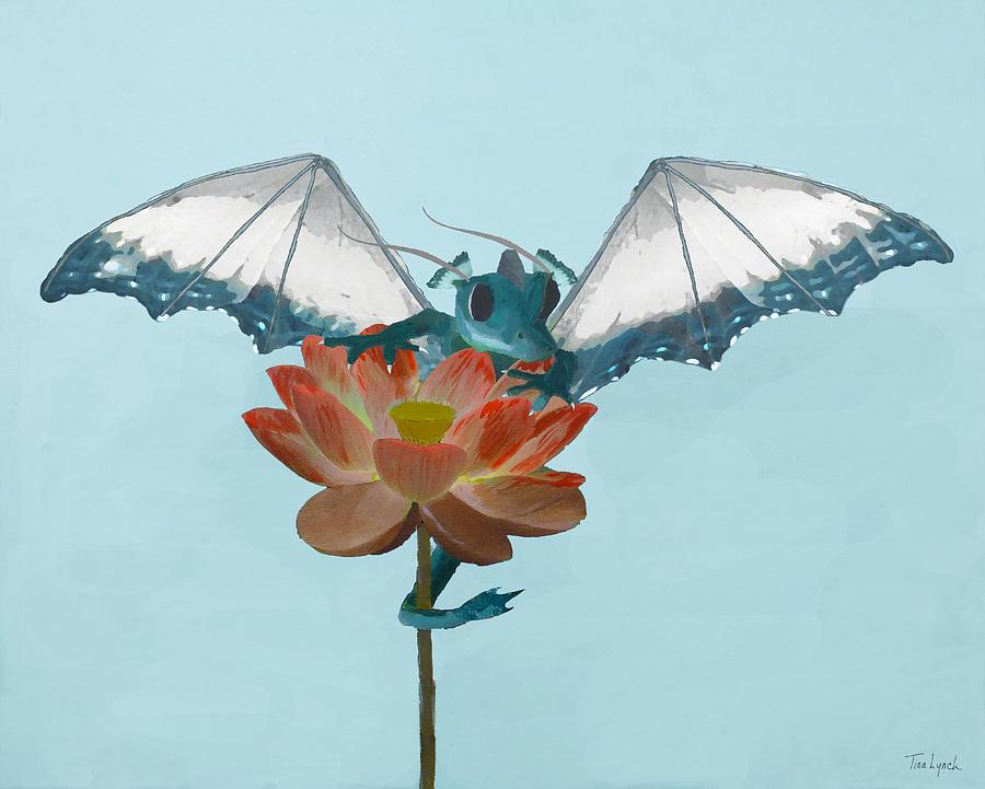 Dragon Painting - Dragon Peeks Around Flower by Tina Lynch