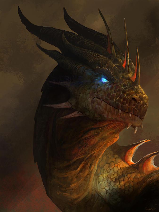 Fantasy Mixed Media - Dragon Portrait by Steve Goad
