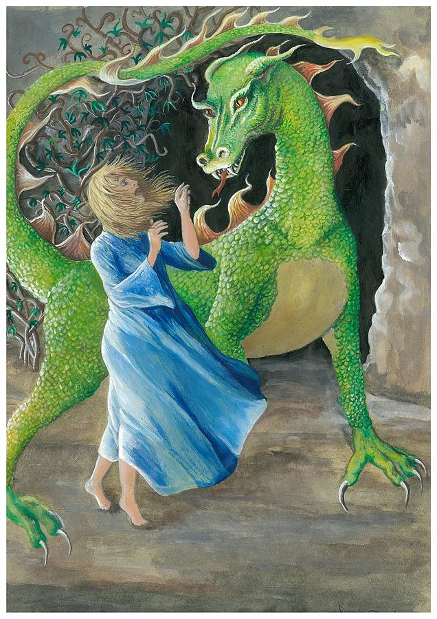Dragon eating princess