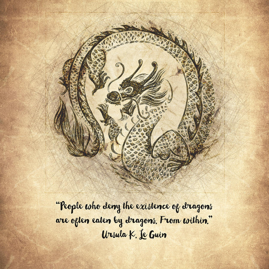 Dragon Drawing - Dragon Quote by Zapista OU