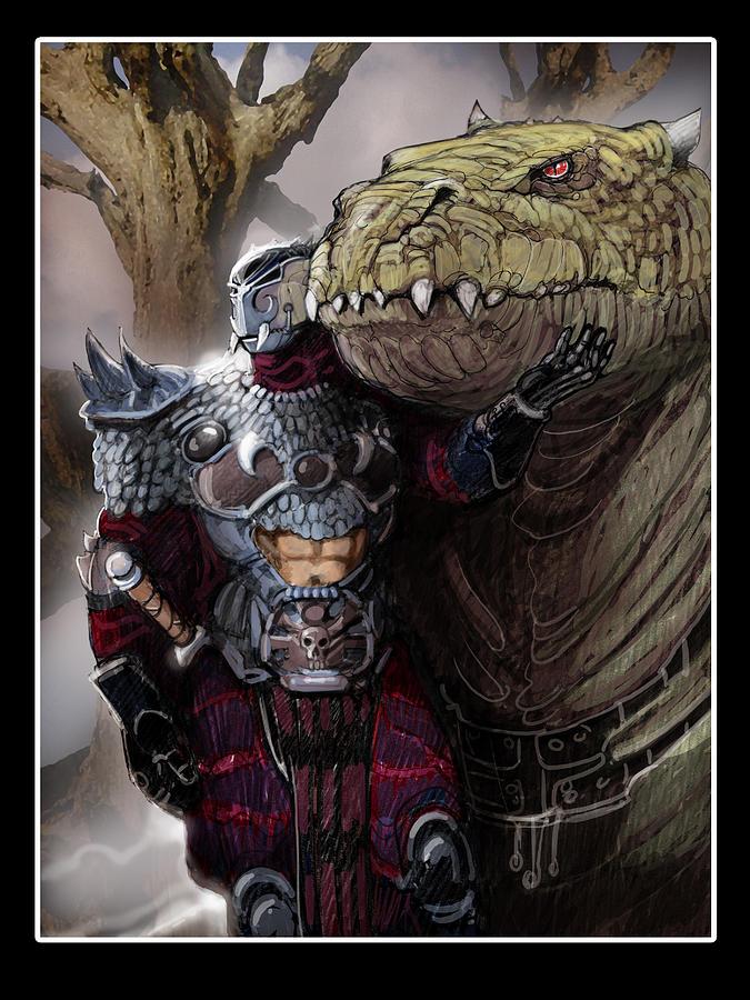 Fantasy Drawings Digital Art - Dragon Rider02 by Roel Wielinga