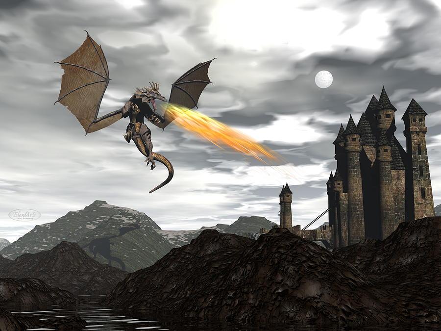 Dragon Digital Art - Dragon Scenery - 3d Render by Elenarts - Elena Duvernay Digital Art