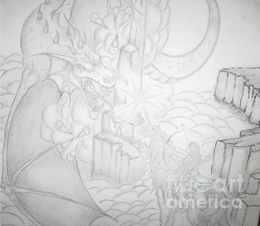 Dragons Drawing - Dragon by Thomas Higdon