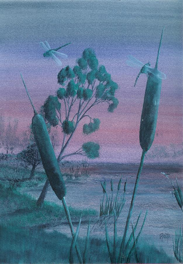 Landscape Painting - Dragonflies In The Dusk by Robert Meszaros