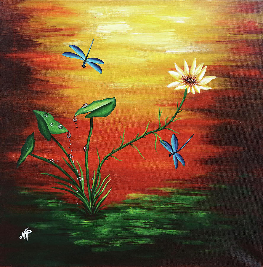 Nature Painting - Blue Dragonflies by Nicole Paquette