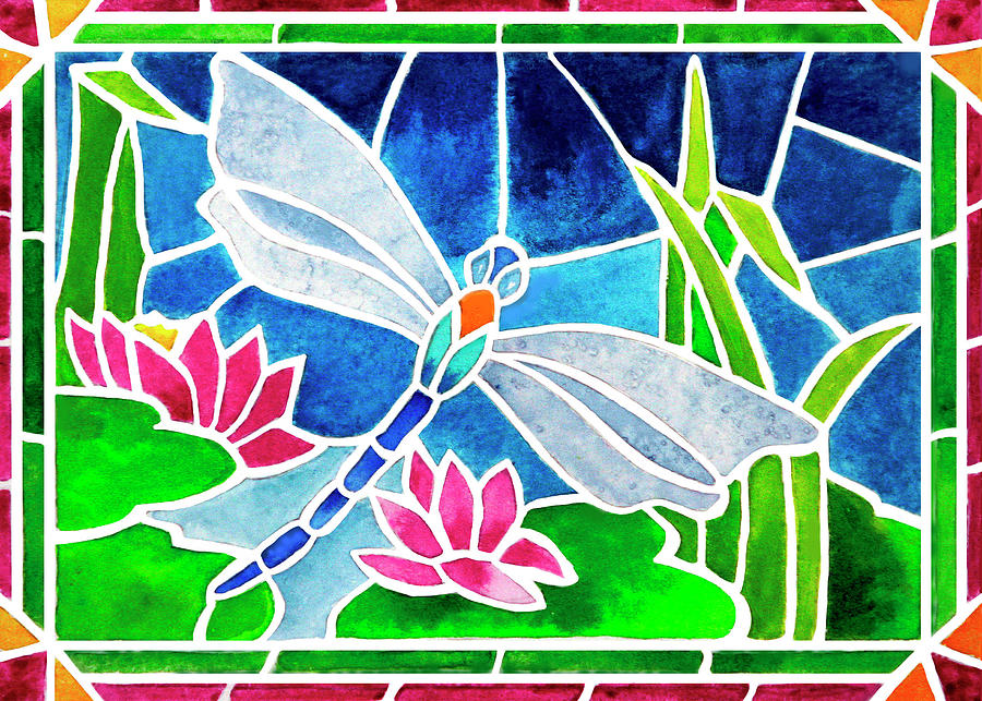 Dragonfly Painting - Dragonfly And Water Lilies In Stained Glass 2 by Janis Grau