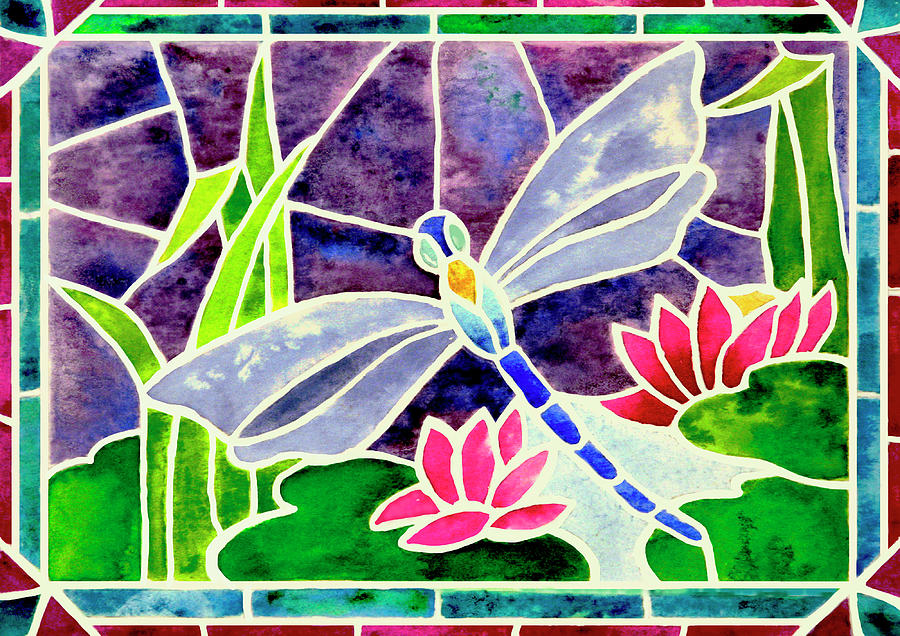 Dragonfly Painting - Dragonfly And Water Lily In Stained Glass by Janis Grau