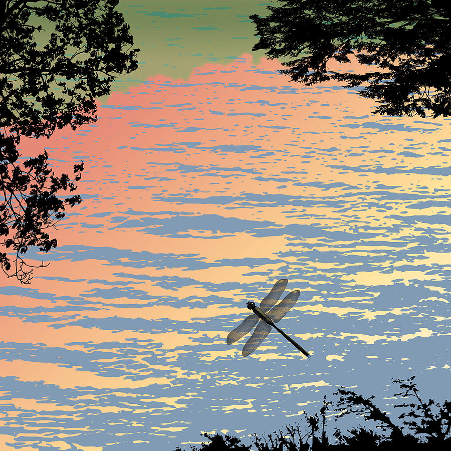 Dragonfly Painting - Dragonfly By The Lake by Marian Federspiel