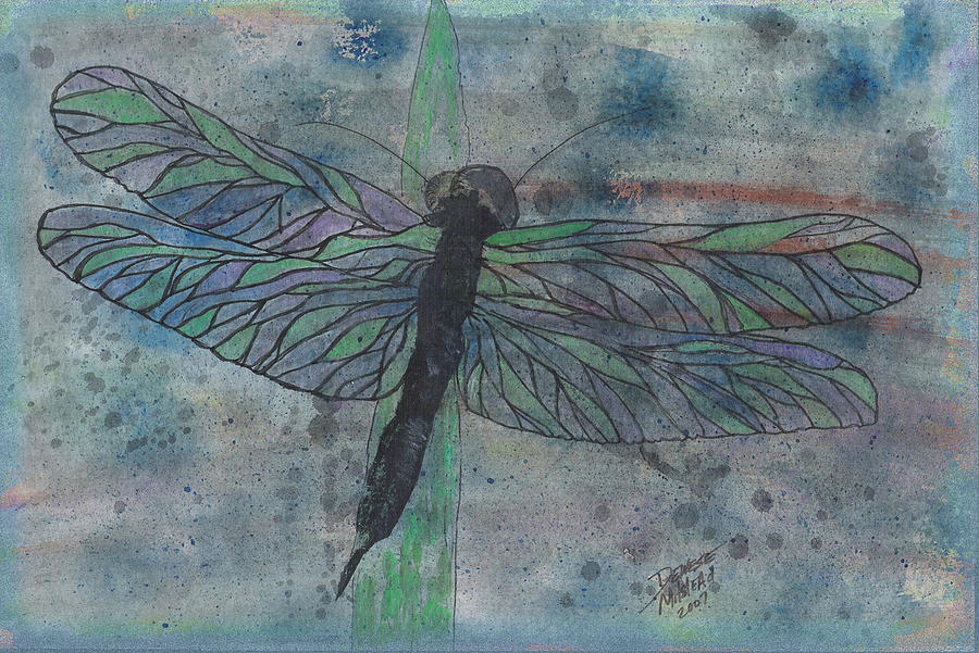 Watercolor Mixed Media - Dragonfly by Dewese Milstead