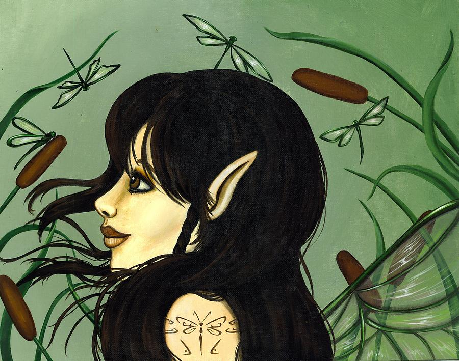 Fairy Painting - Dragonfly Fairy 5 by Elaina  Wagner