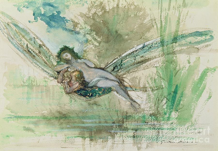 Dragonfly Painting - Dragonfly by Gustave Moreau