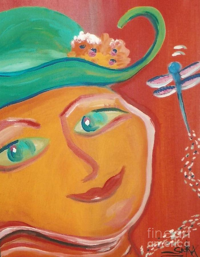 Mural Painting - Dragonfly Lady at Tea House by Sidra Myers