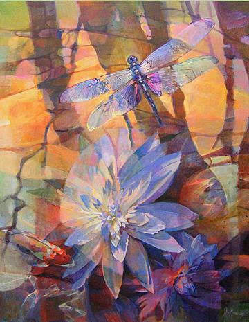 Dragonfly Lotus Painting by Steve Memering