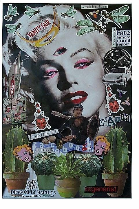 Facebook Mixed Media - Dragonfly Marilyn  by Francesco Martin