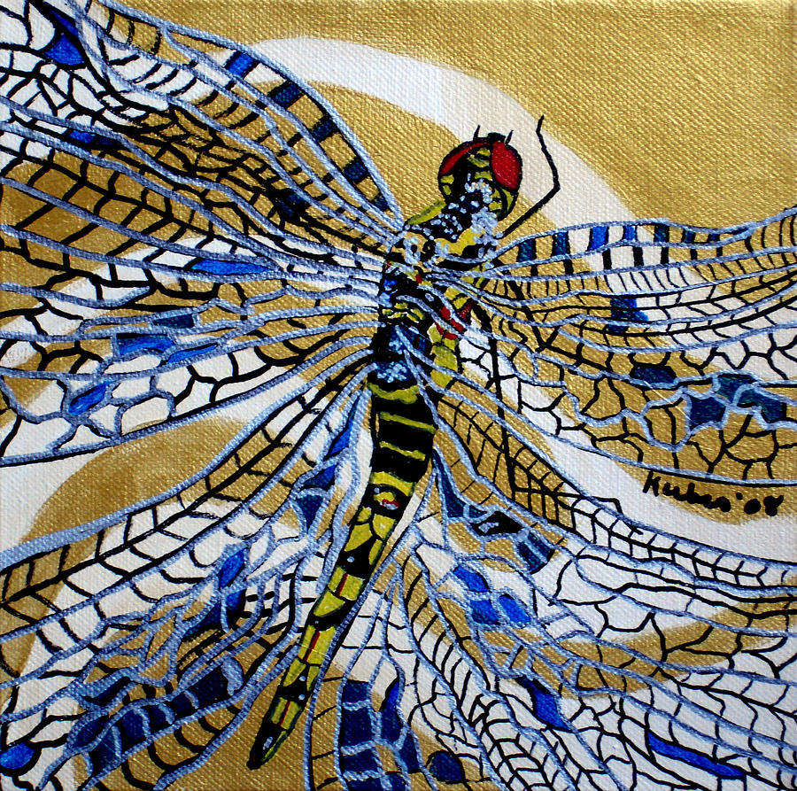 Dragonfly Painting - Dragonfly On Gold Scarf by Susan Kubes
