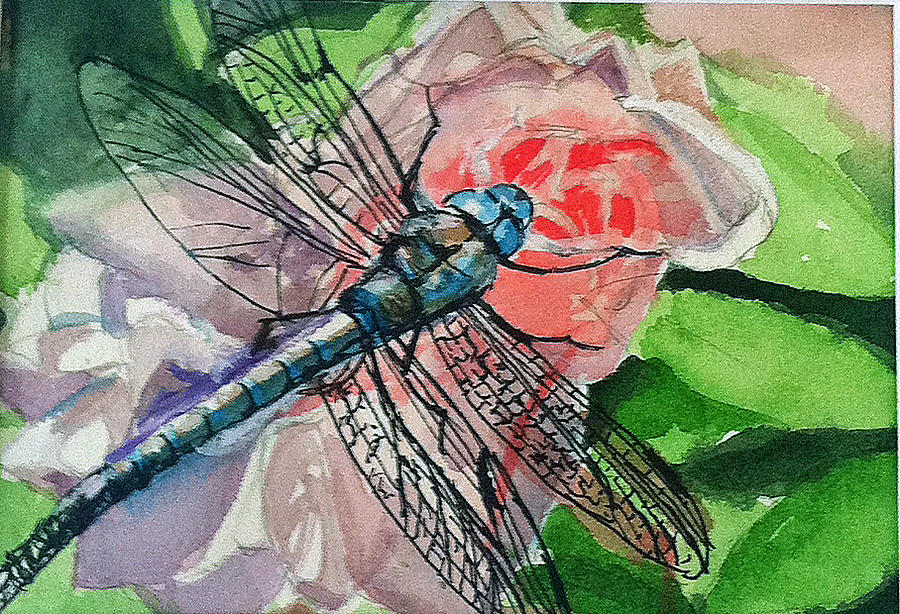Dragonfly Painting - Dragonfly on Rose by Lynne Atwood