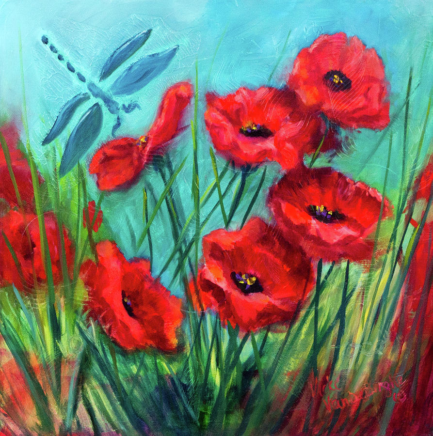 Dragonfly Poppies by Vicki VanDeBerghe