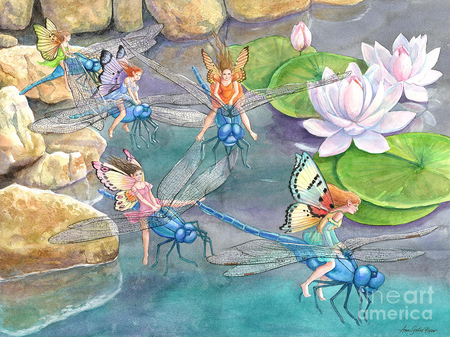 Dragonfly Painting - Dragonfly Races by Ann Gates Fiser
