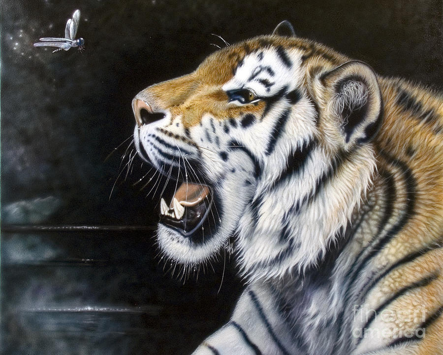 Tiger Painting - Dragonfly by Sandi Baker