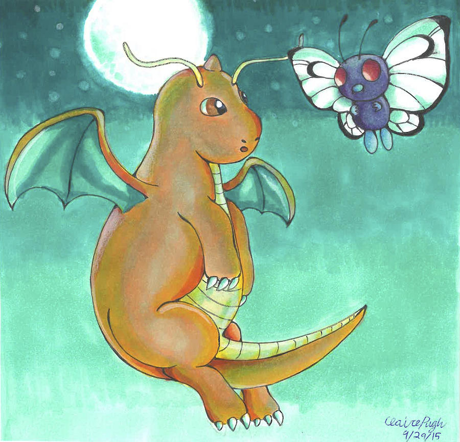 6a8d83fd0 Dragonite And Butterfree Drawing by Claire Pugh