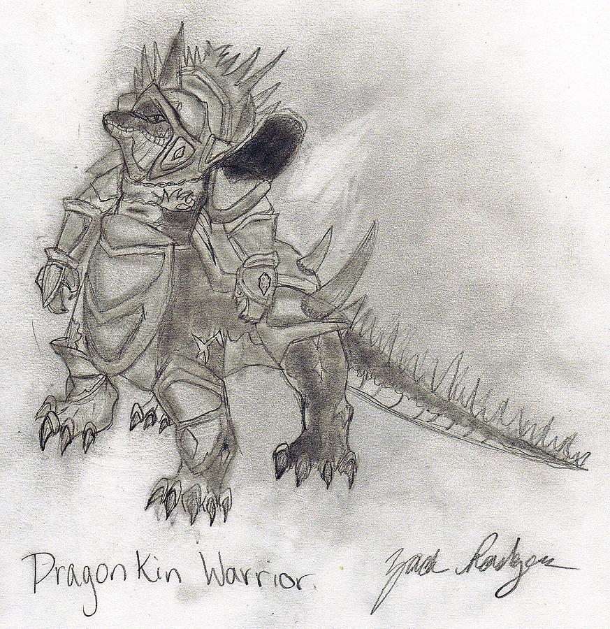 World Of Warcraft Drawing - Dragonkin Warrior by Zach Rodgers