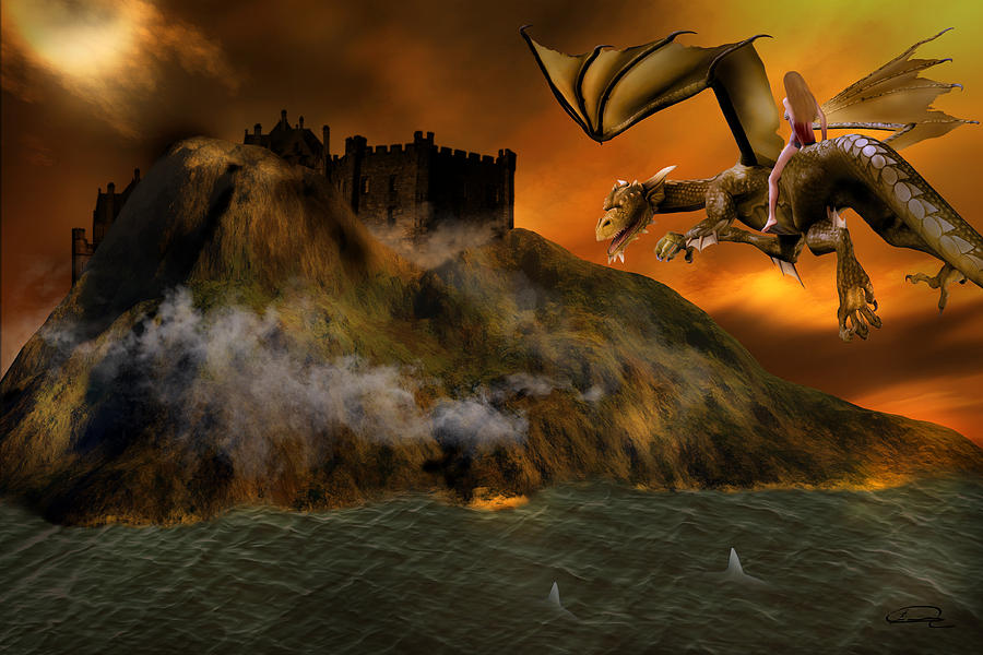 Fantasy Painting - Dragons Return To Lost Island by Emma Alvarez